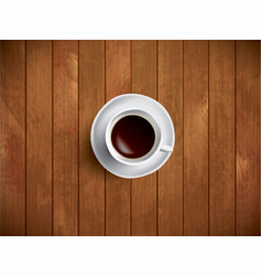 coffe on the wooden table vector image vector image