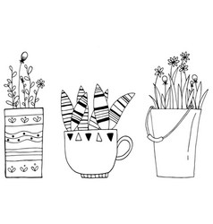 hand drawn of set vintage cactus flowers in the vector image vector image