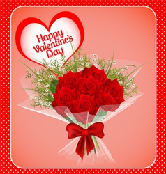 postcard on Valentines day with a bouquet vector image vector image