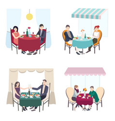 romantic couple dinner in cafe restaurant set of vector image