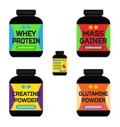 sports nutrition supplements creatine whey protein vector image