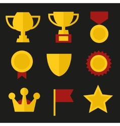 Trophy and Awards Icons Set in Flat Design Style vector image