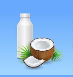 coconut milk or yogurt and bottle design vector image vector image