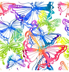 Colorful background with watercolor butterfly vector image