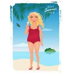 girl on the sea beach vector image