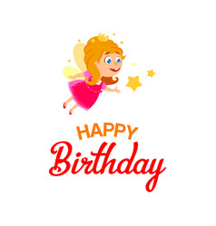 little fairy for happy birthday vector image