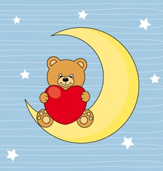 Bear sitting on the moon with a heart vector image