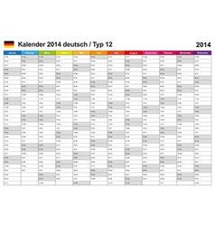 Calendar 2014 German Type 12 vector image vector image