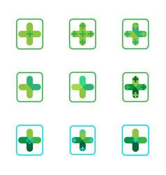 cross plus medical pharmacy green logo icons vector image