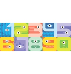 monster font numbers vector image