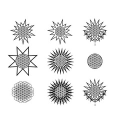 set of hipster line round emblems vector image vector image