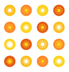 Set of sun icons on color background vector