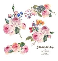 Set vintage floral bouquet of English roses vector image