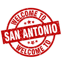 welcome to san antonio red stamp vector image vector image