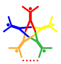 teamwork icon different color vector image vector image