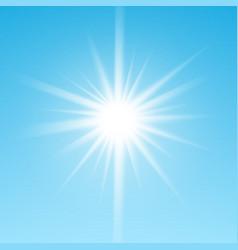 White glowing light burst sun on blue sky vector image vector image