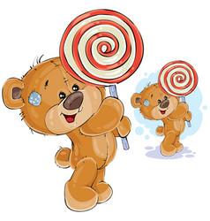 A brown teddy bear keeps in vector