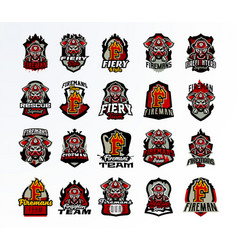 a large colorful collection of emblems badges vector image