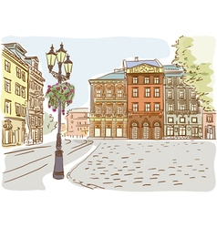 Antique European street Summer city landscape vector image