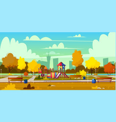 background of playground in park autumn vector image
