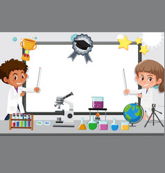 banner template with two kids working in science vector image