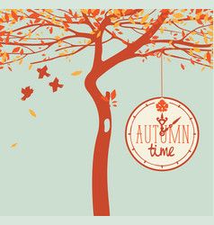 Banner with autumn tree and clock vector