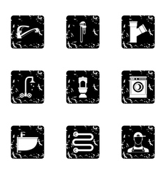 Bathroom icons set grunge style vector image