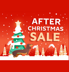 beautiful christmas poster with tree and gifts vector image
