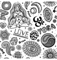 Beautifull seamless yoga pattern with ornaments vector image