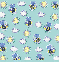 bees insects with sun and clouds background vector image