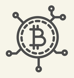 blockchain technology line icon bitcoin vector image