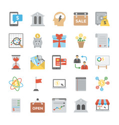 business flat icons collection vector image