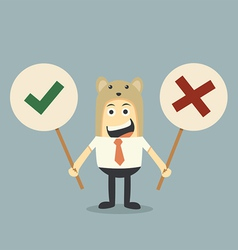 Businessman and yes no sign vector image