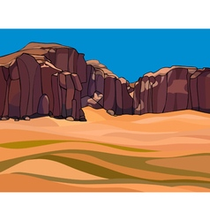 Cartoon desert with the red rocks vector