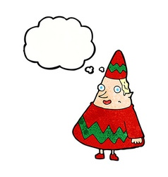 Cartoon elf with thought bubble vector