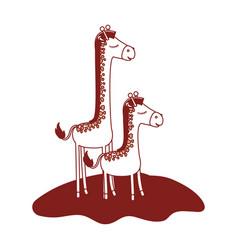 Cartoon giraffe mom with calf over grass in color vector