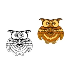 Cartoon outline and brown owl bird vector image