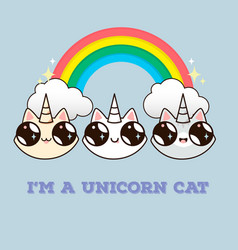 Cats with a horn on the background of the rainbow vector