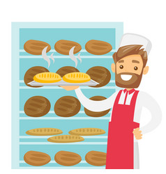 caucasian white baker holding tray with bread vector image