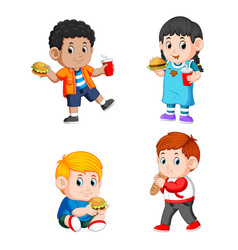 Children holding their fast food and soda vector