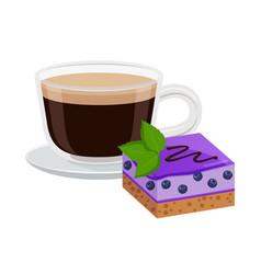 coffee with cake decoration vector image