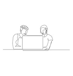 continuous one line man and woman are sitting in vector image