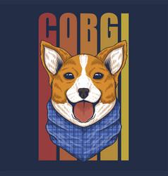 Corgi dog bandana vector