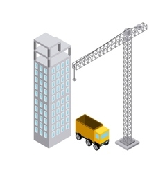 Crane building truck icon Isometric design vector