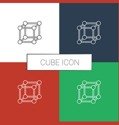 Cube icon white background vector