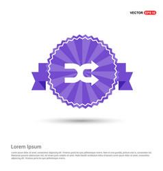 Double arrow icon - purple ribbon banner vector