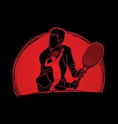 Double exposure tennis player sport man action vector