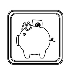 Figure emblem pig to save bill icon vector