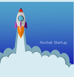 flat rocket icon startup concept of business vector image