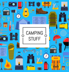 flat style camping background vector image